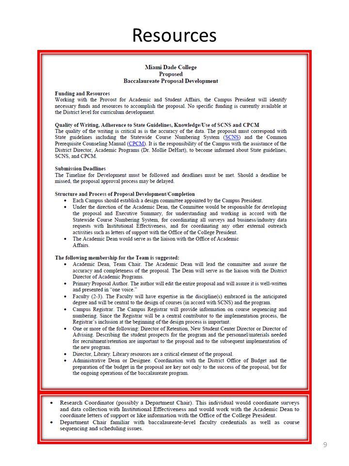 Additional Resources State Application OAP Program Development Baccalaureate Proposal Development Bachelor Degree Proposal Checklist Letter of Intent (LOI) Instructions Letter of Intent (LOI) Example Baccalaureate Proposal Timeline (Developed by Dr.