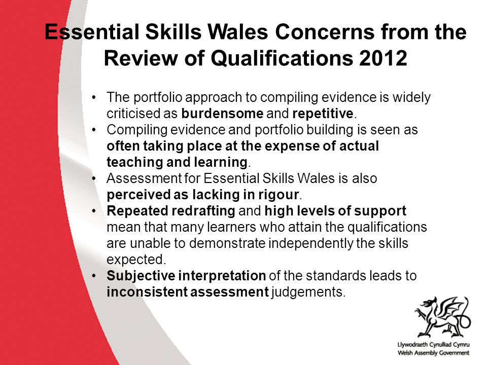 Recommendations of the RoQ 2012 Essential Skills Wales (RoQ, 2012, p.