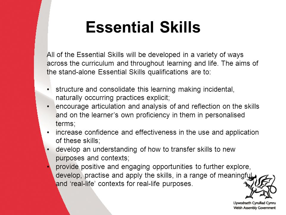 Essential Skills In order to achieve the qualification in Communications and Application of Number at Levels 1, 2 or 3, learners must demonstrate that their skills meet national standards in both: a controlled task, and a short, confirmatory test.