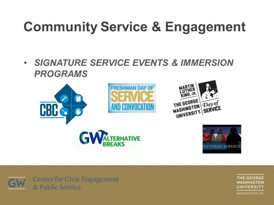 ON-GOING SERVICE PROGRAMS Community Service & Engagement