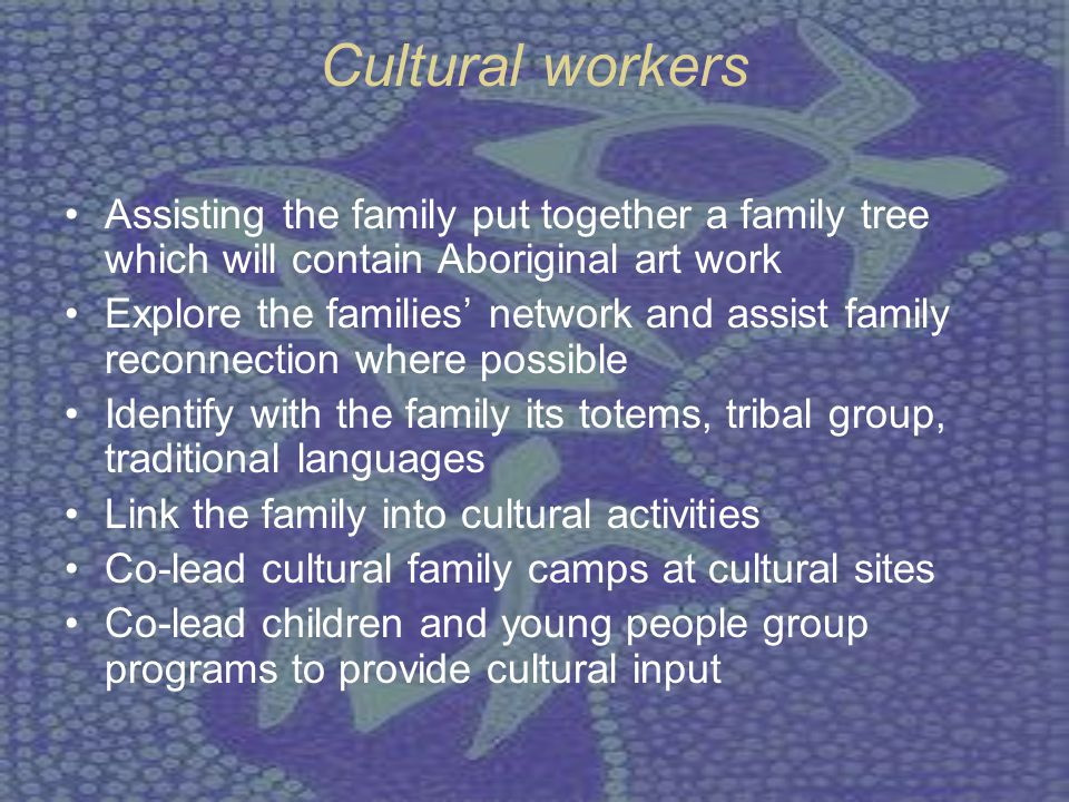 Aboriginal Family Decision Making (AFDM) Family Decisions making is a culturally respected meeting involving the child or young person, significant others of the child or young persons community, Elders, and Community organisation staff.