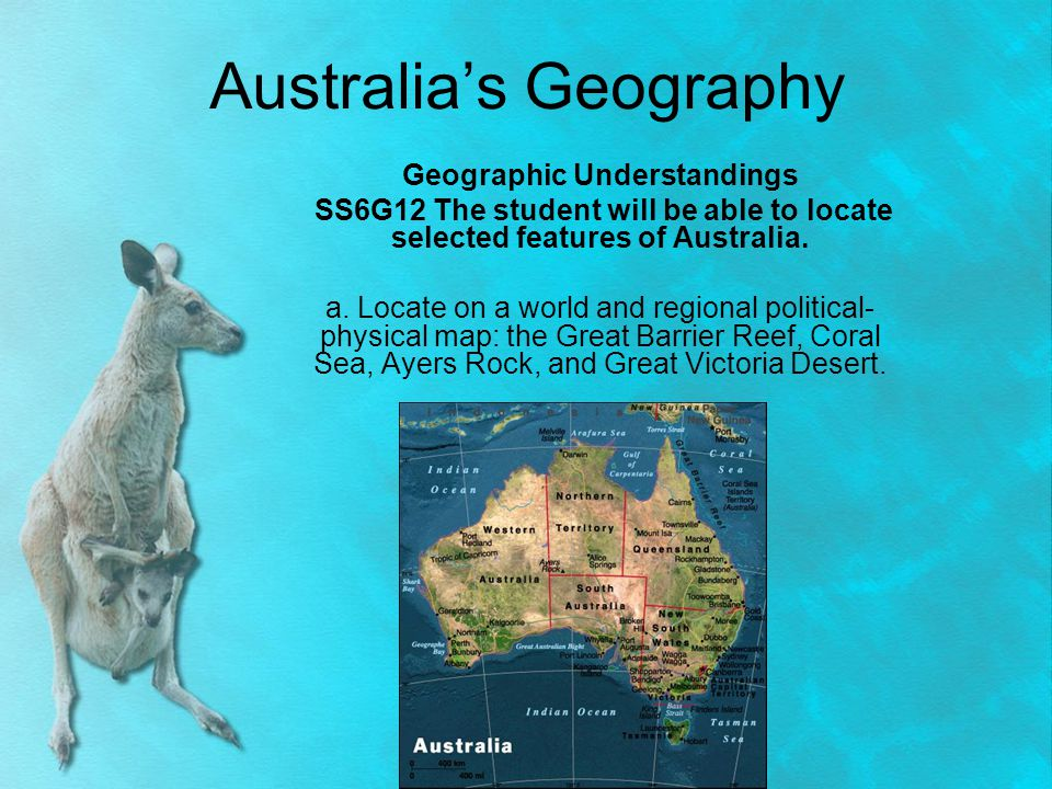 Australia's Landscape Australia is called the Land Down Under Island country AND a continent – located in the southern hemisphere, south of the equator Geography of Australia – described as large, semi-arid, dry region with temperate climates in the southeastern coastal areas