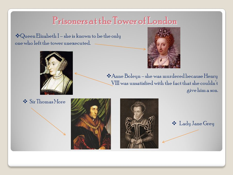 Prisoners at the Tower of London  Queen Elizabeth I – she is known to be the only one who left the tower unexecuted.
