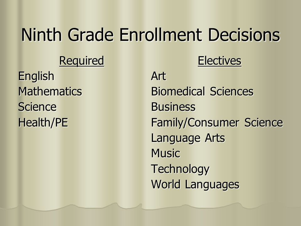 English English 9 or English 9, Honors ENGLISH 9, HONORS: includes all of the requirements for the regular English 9 class and more—with major emphasis being placed on the reading of classic world literature texts.