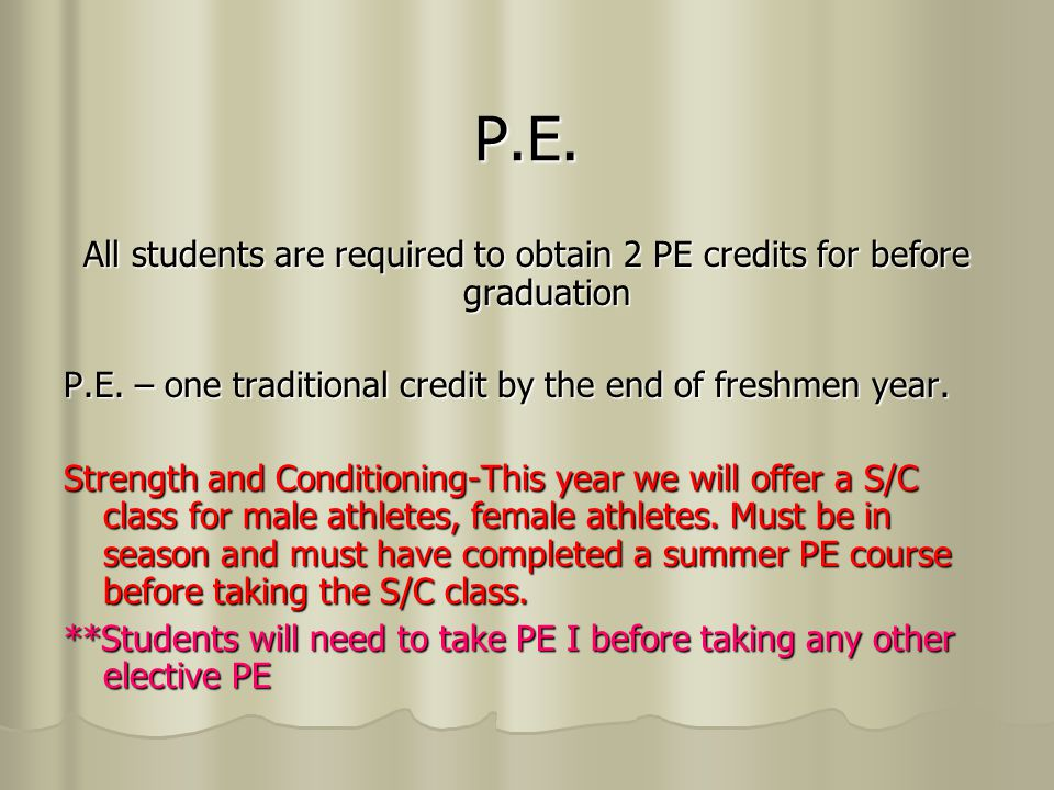 PE II Option Students will be able to count the following for one credit of PE after they have taken a traditional PE course.