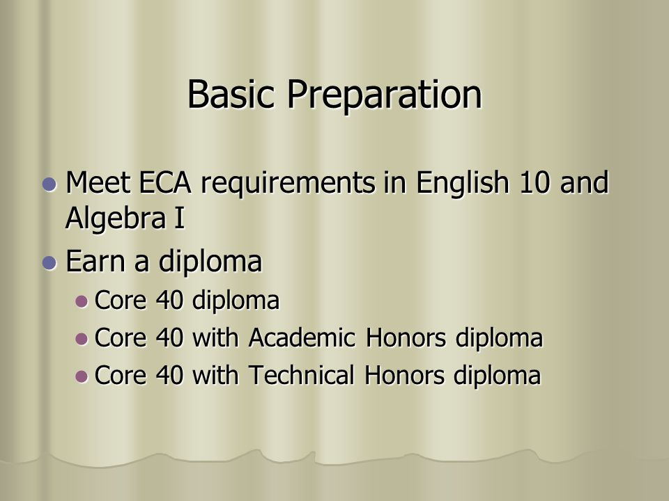 GQE Requirements Meet ECA standards in Algebra I and English 10 Meet ECA standards in Algebra I and English 10 Waiver Waiver Retest at least once a year Retest at least once a year Complete all remediation provided by school Complete all remediation provided by school Maintain 95% attendance rate Maintain 95% attendance rate Achieve a C- average (1.5 GPA) in the 34 credits specifically required for graduation Achieve a C- average (1.5 GPA) in the 34 credits specifically required for graduation Complete all graduation requirements Complete all graduation requirements Complete requirements for Evidence-based waiver or Work-readiness waiver Complete requirements for Evidence-based waiver or Work-readiness waiver
