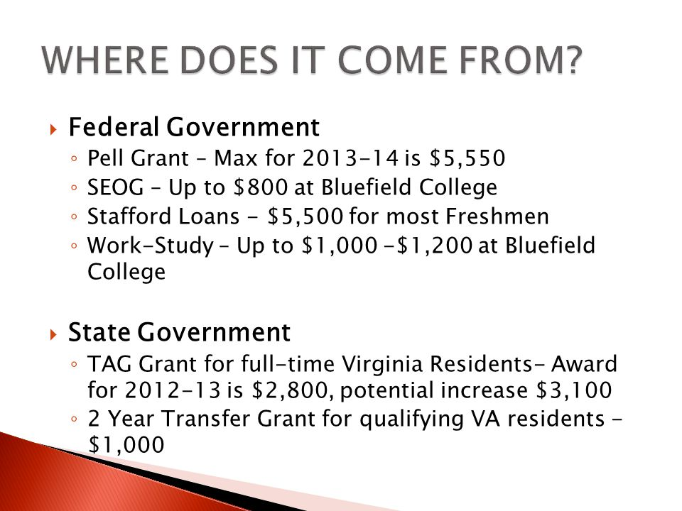  PELL- the EFC range to receive Federal Pell Grant funding is 0-4995.