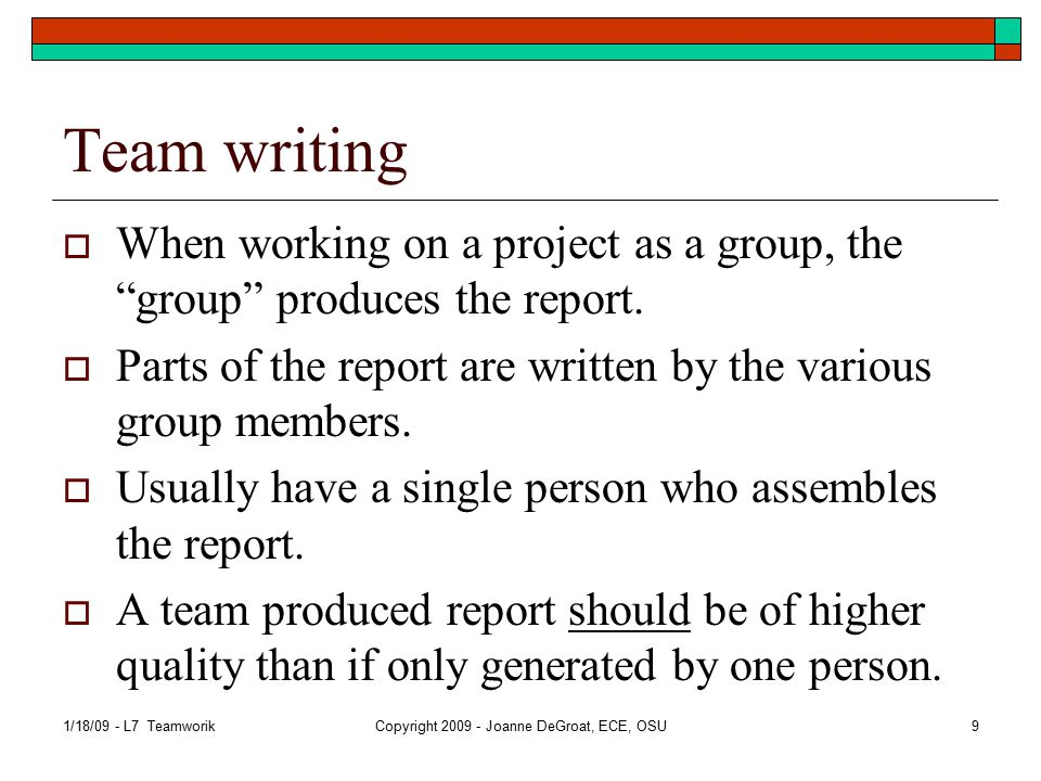 Team writing (2)  Also call group writing.