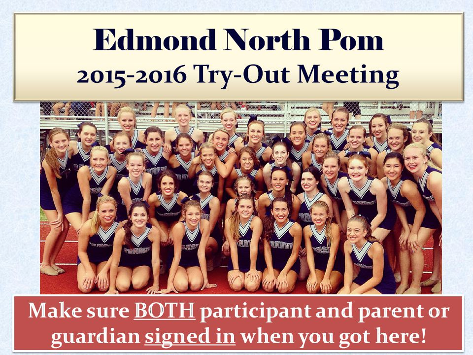 The purpose of the Pom squads at Edmond North High School is to promote school spirit, support various organized activities, represent the school, and provide positive leadership in all aspects of school life.