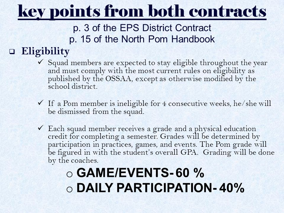 key points from both contracts p.3 of the EPS District Contract p.