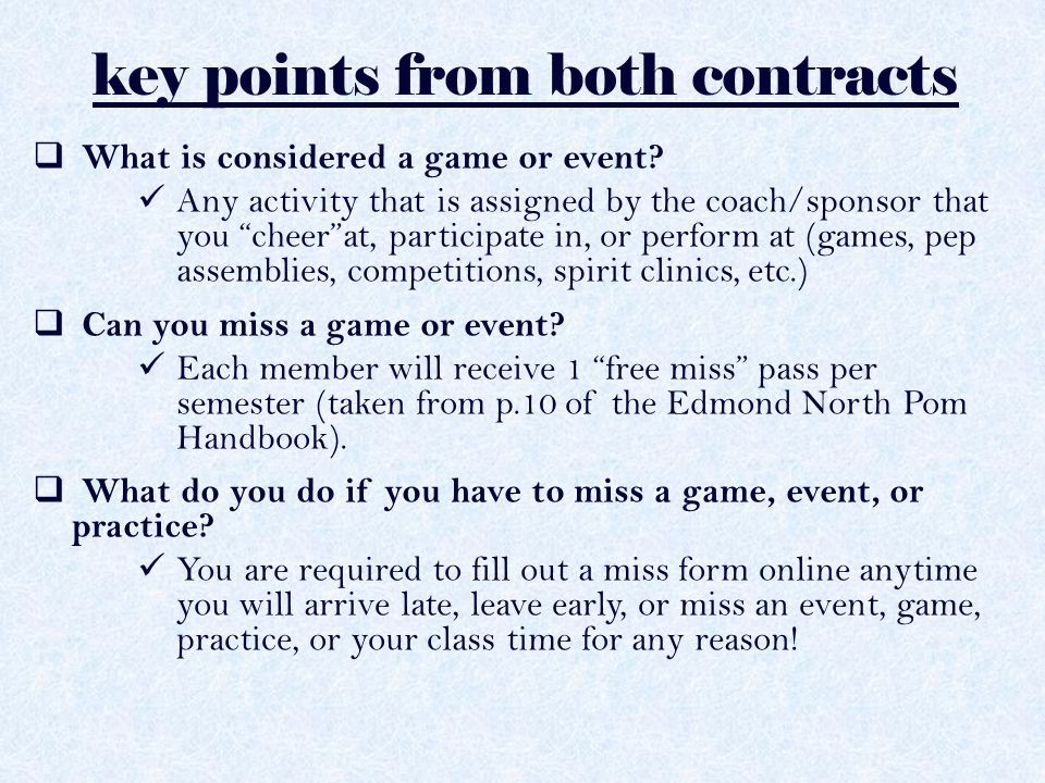 key points from both contracts p.