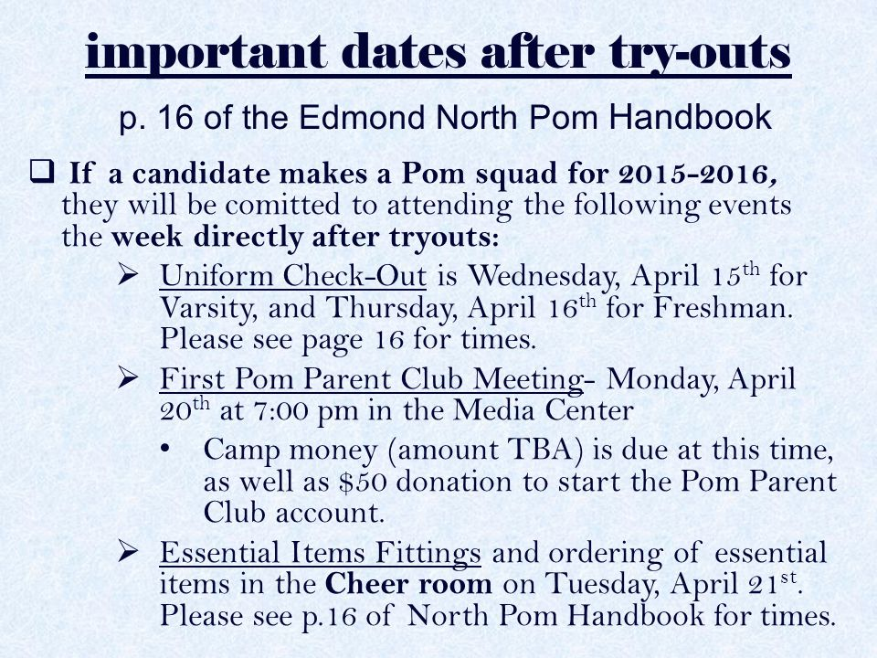important dates after try-outs p.