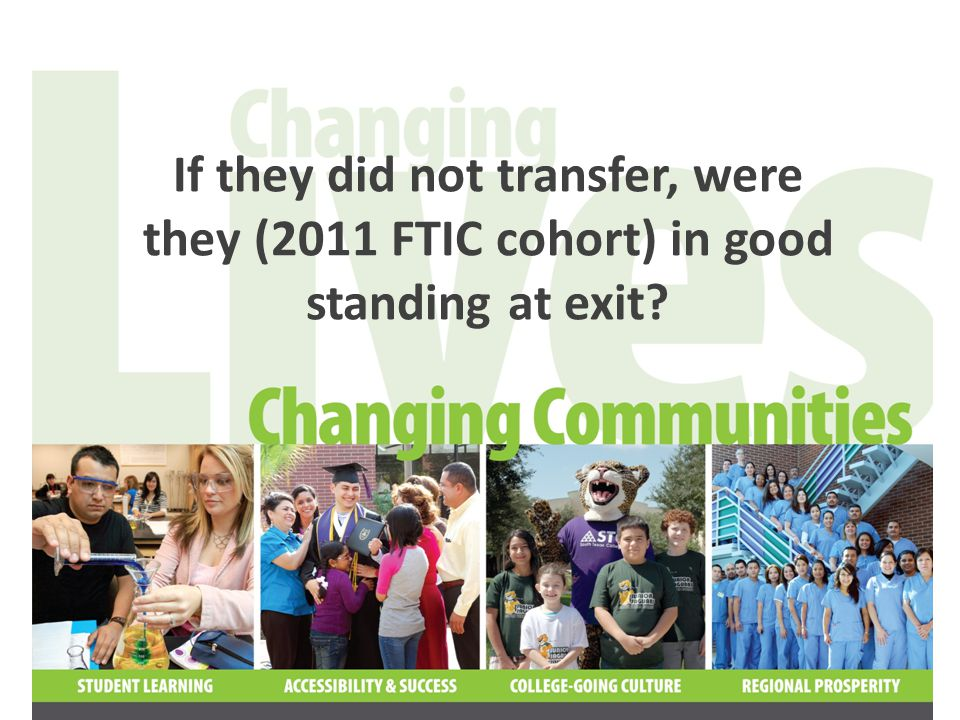 Only 33% of the 2011 FTIC cohort who did not transfer left in good standing GPA >= 2.0 GPA < 2.0