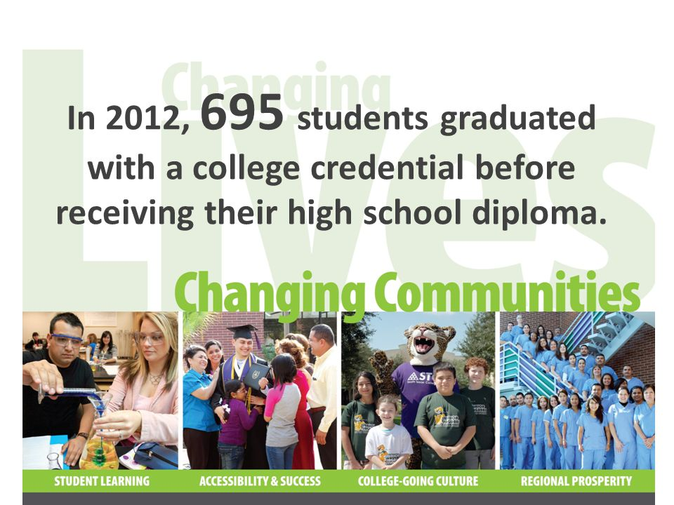 In 2013, we anticipate that more than 1,000 students will graduate with a college credential before receiving their high school diploma.