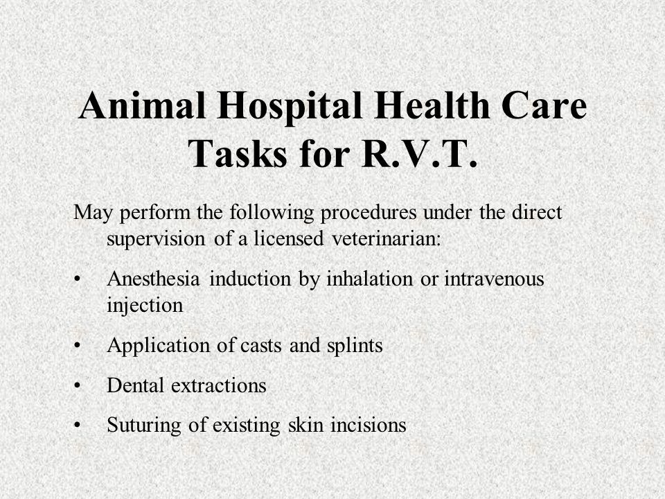 Authorized Acts for R.V.T.s R.V.T.s may perform animal health care tasks on animals impounded by a state, county, or city agency: –under direct order or –written order or –telephone order of a California licensed veterinarian