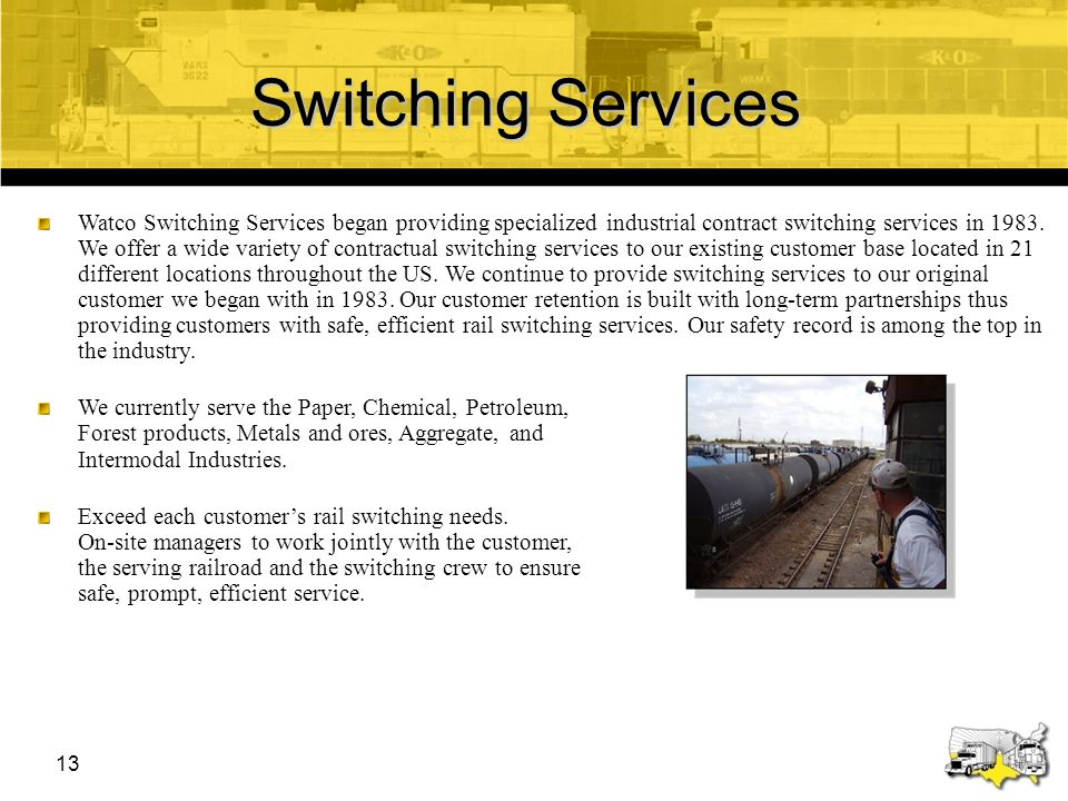 14 Watco Safety Commitment Watco is committed to safety for our employees Compliance with our new policies and regulations is essential and required to ensure the safety of our employees and our company Compliance with our rules/policies and with regulations is not an option but a condition of employment with Watco Services Strong and effective safety relationships with our customers is essential to the continued improvement of our company