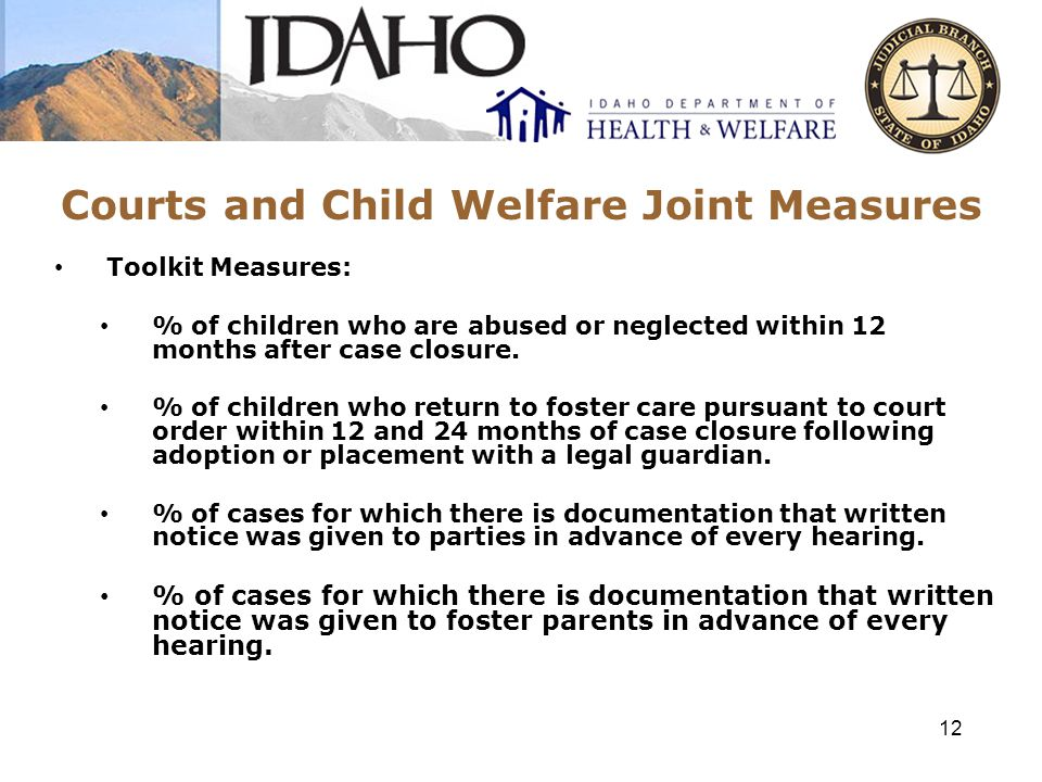 Courts and Child Welfare Joint Measures Educational Well-Being Measures: % of children under court jurisdiction who did not have a school change when they had a change in living placement.