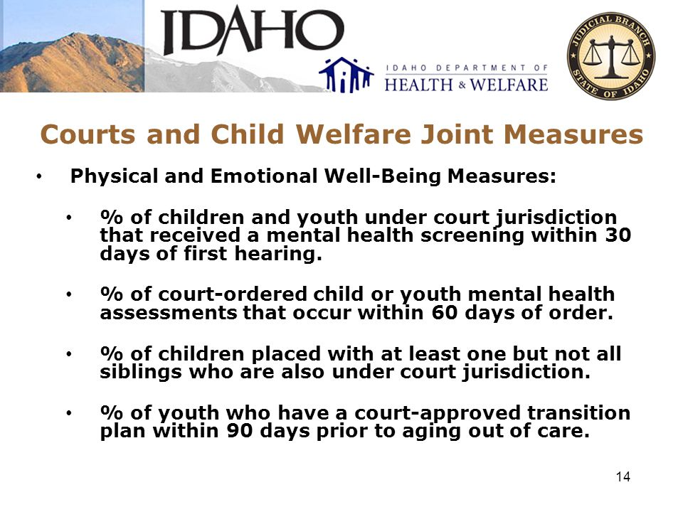 Courts and Child Welfare Joint Measures Indian Child Welfare Act (ICWA) Measures: % of ICWA compliant placements.
