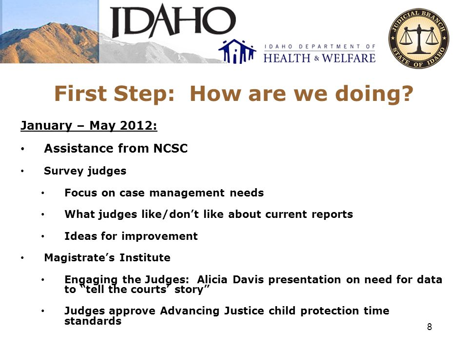 Time Standards 9 Time Standards for Child Protection Cases: Adjudicatory Hearing: 90% w/in 30 days; 98% w/in 60 days (measured from filing of petition to completion of hearing) 1 st Permanency Hearing: 98% w/in 365 days (measured from filing of petition to completion of hearing) Subsequent Permanency Hearings: 98% w/in 365 days (measured from the earlier of the date of the previous permanency hearing or the last date on which the previous permanency hearing would have been timely heard, to completion of hearing).
