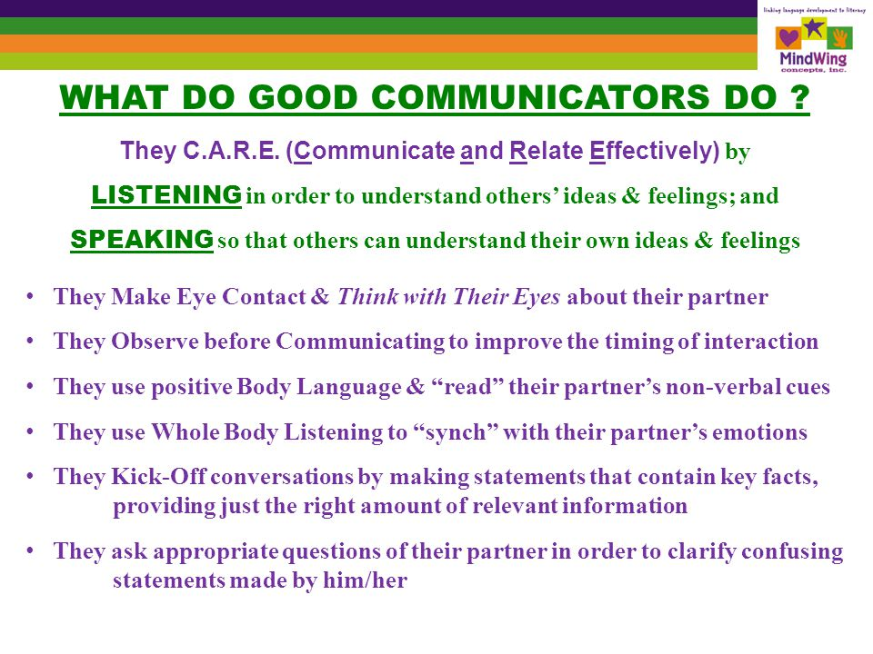 They answer questions posed by their partner in order to clarify content They Take Turns, alternating speaking & listening roles & balance air time They Stay on the Topic and signal Topic Changes appropriately They Act Interested by smiling, leaning forward & head nodding They Speak Clearly so their words can be easily understood by their partner They use a polite Tone of Voice to signal respect & friendliness They also use: Just the Right Distance (not too close & not too far away) Just the Right Speed (not too fast & not too slow) Just the Right Volume (not too soft & not too loud) They try to be mindful of their conversational partner, by thinking socially
