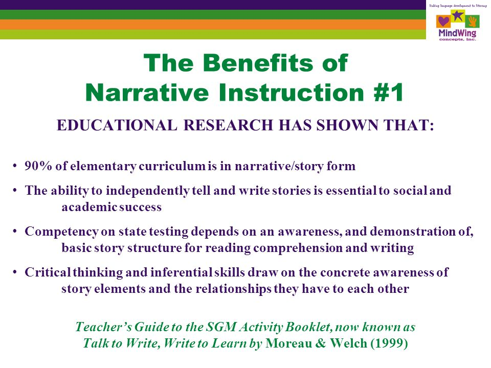 The Benefits of Narrative Instruction #2 The ability to identify and develop plans and goals is crucial to academic and social success because these skills enable students to connect the character's relationship to the beginning, middle and end of a story or to their own personal, life experiences (self-talk/self-regulation) Advancing curriculum and social competency require students to develop perspective-taking, the ability to see and feel situations through the eyes of another/from his or her point of view Perspective-taking underlies the ability to empathize, an absolutely vital skill Empathy is the basis for social & literate inferencing; both skill sets have broad implications for our society (effective problem-solving) Teacher's Guide to the SGM Activity Booklet, now known as Talk to Write, Write to Learn by Moreau & Welch (1999)
