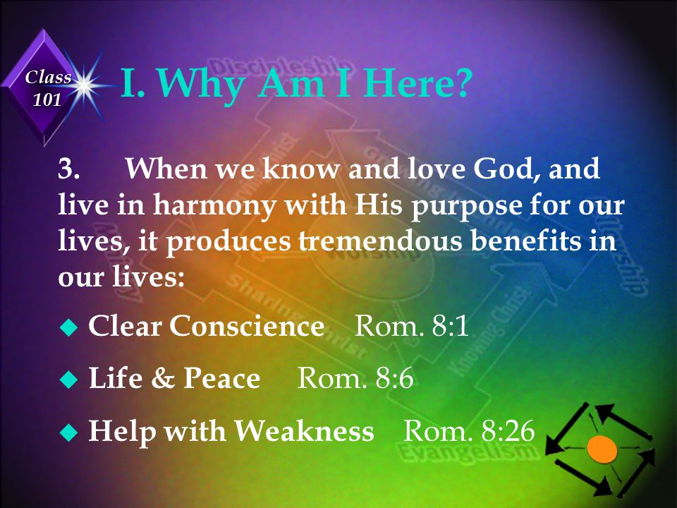 Class 101 I.Why Am I Here. u Purpose Rom. 8:28 u Confidence Rom.