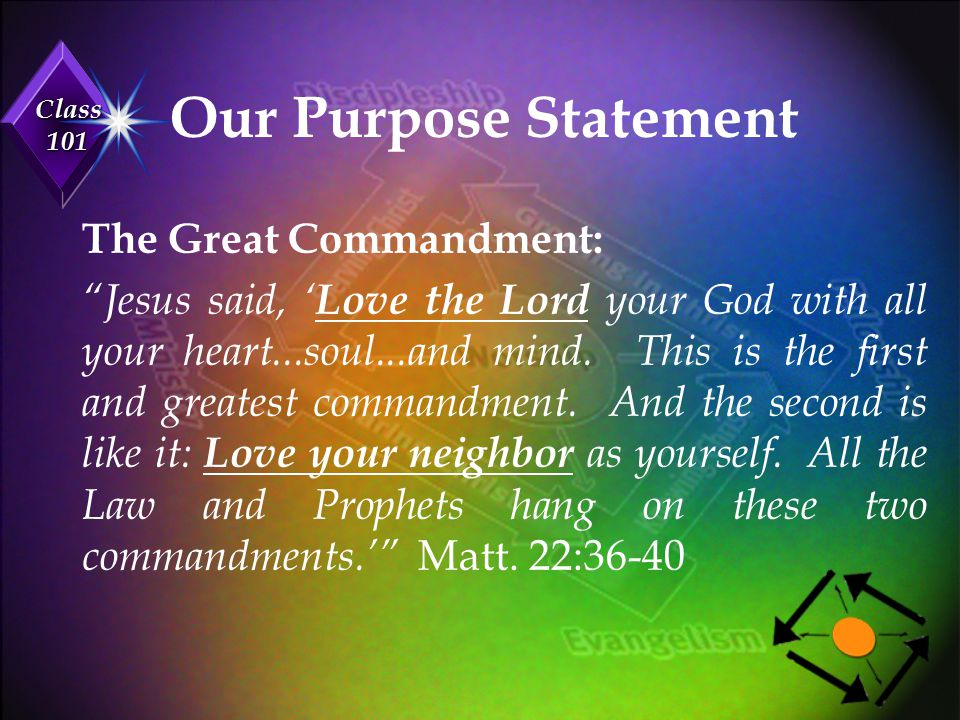 Class 101 Our Purpose Statement The Great Commission: Jesus said, ' Go and make disciples of all nations, baptizing them in the name of the Father and of the Son and of the Holy Spirit, and teaching them to obey everything I have commanded you. Matt.