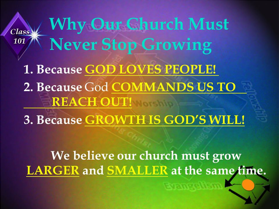 Class 101 III.We Exist To Educate God's People u Discipleship: BELIEVERS GROW SPIRITUALLY.