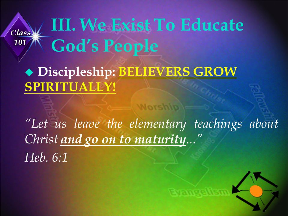 Class 101 IV.We Exist To Demonstrate God's Love u Ministry: MEETING NEEDS WITH LOVE.