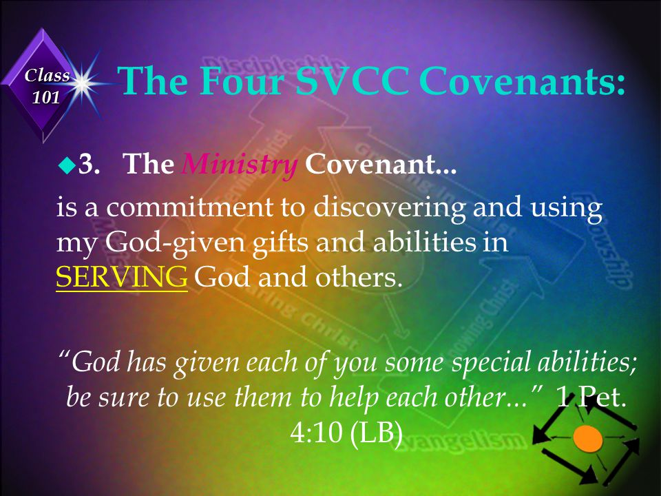 Class 101 The Four SVCC Covenants: u 4.The Missions Covenant...