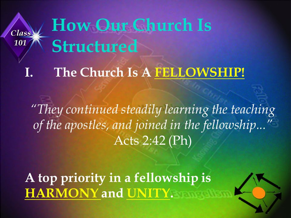 Class 101 How Our Church Is Structured u Implication: A good structure promotes unity and downplays DIFFERENCES.