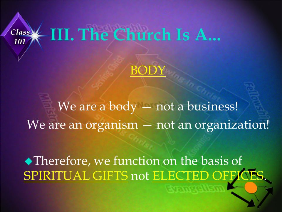 Class 101 Our Structure u The people are the MINISTERS . u The pastors are the ADMINISTERS .