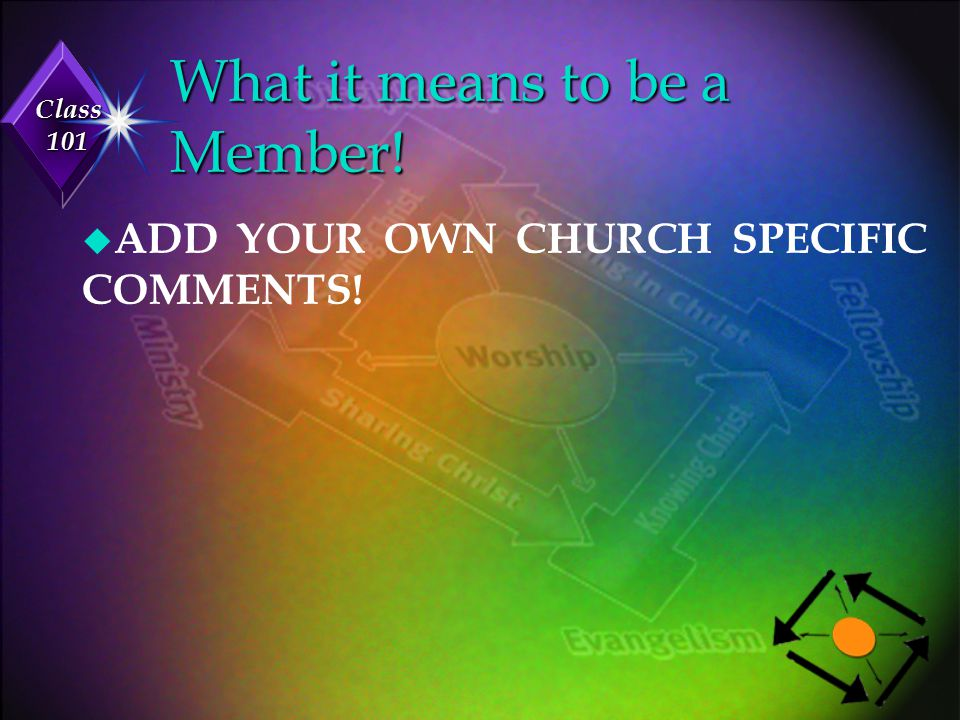 Class 101 What is Expected of me? u ADD YOUR OWN CHURCH SPECIFIC COMMENTS!