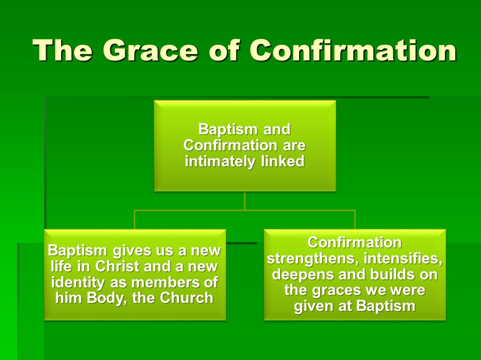 The Grace of Confirmation Confirmation completes Baptism and perfects Baptismal grace