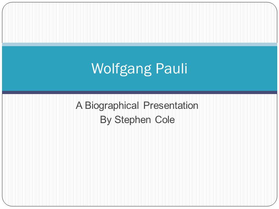 Some Contributions The Exclusion Principle The Neutrino Pauli Equation Spin Statistics Theorem Pauli, Nobel Prize portrait Image: Wolfgang Pauli - Biography .