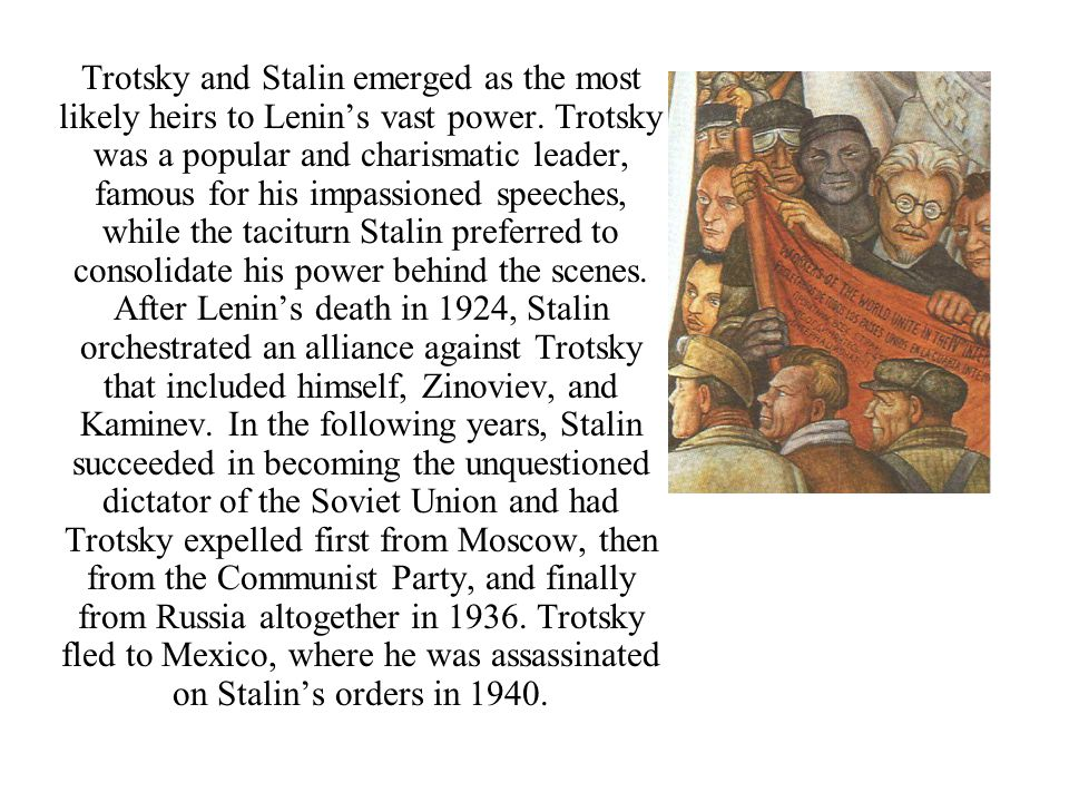 In 1934, Stalin's ally Serge Kirov was assassinated in Leningrad, prompting Stalin to commence his infamous purges of the Communist Party.