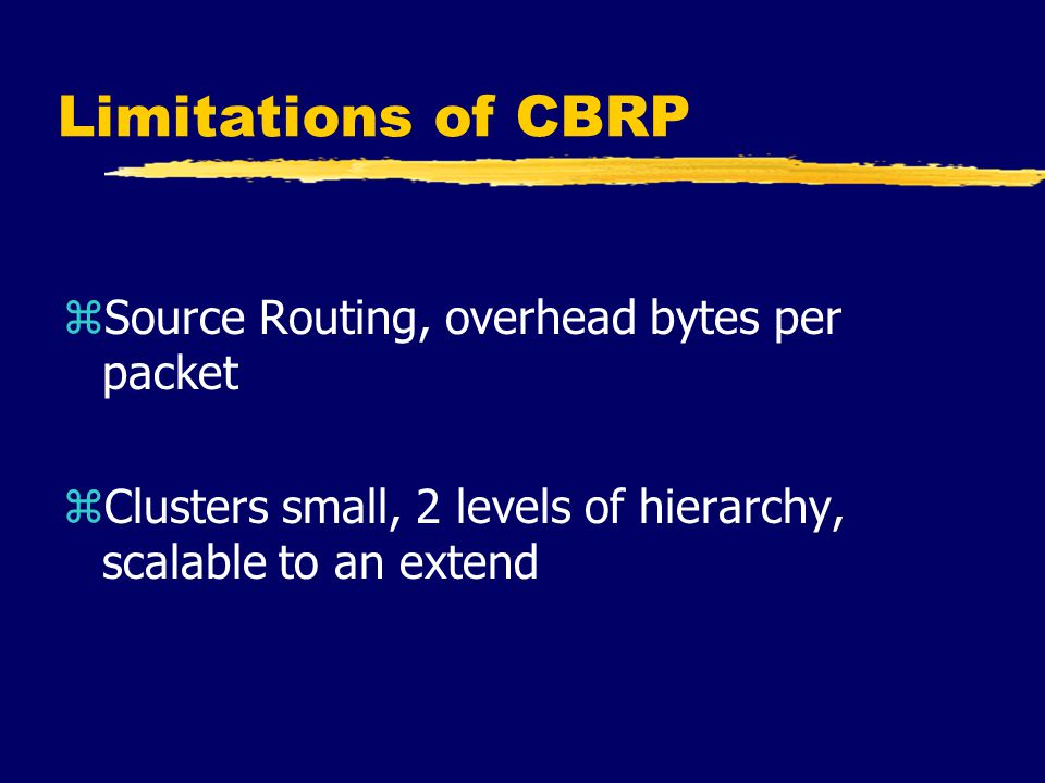 Conclusion zCBRP is a robust/scalable routing protocol superior to the existing proposals zFurther study on Superclustering zQoS, Multicast support in CBRP