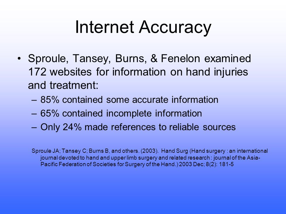 Internet Accuracy Tatsioni, Gerasi,Charitidou, et al examined 519 websites to determine whether current FDA warnings on a variety of drugs were included with the basic drug information: –Only 31.8% contained precise drug information.