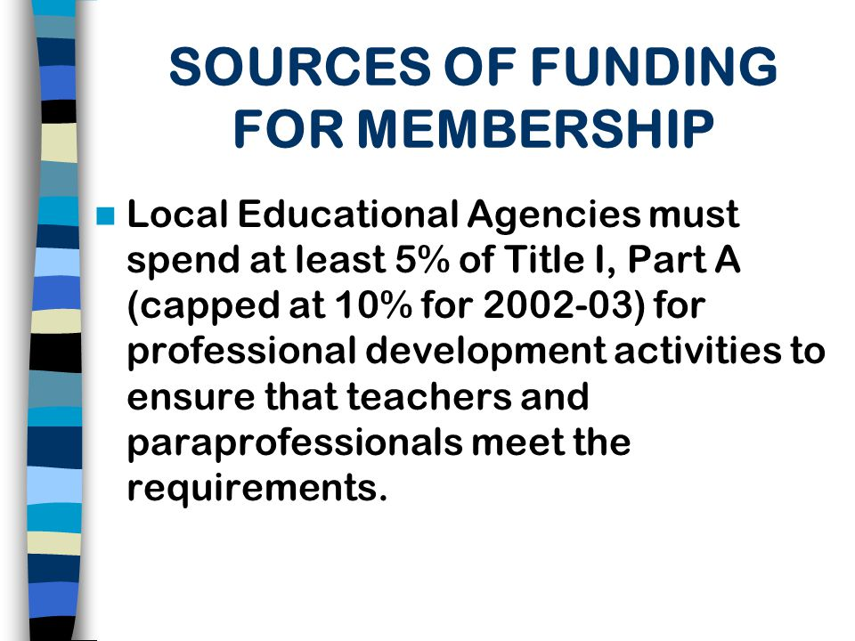 FEDERAL FUNDING Title I, Part A funds may be used to support ongoing training and professional development to assist teachers and paraeducators working in a program supported with Title I, Part A funds.