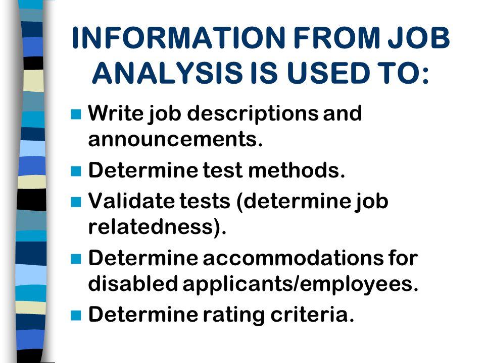 Classification JOB ANALYSIS Performance Appraisal Training Selection Compensation