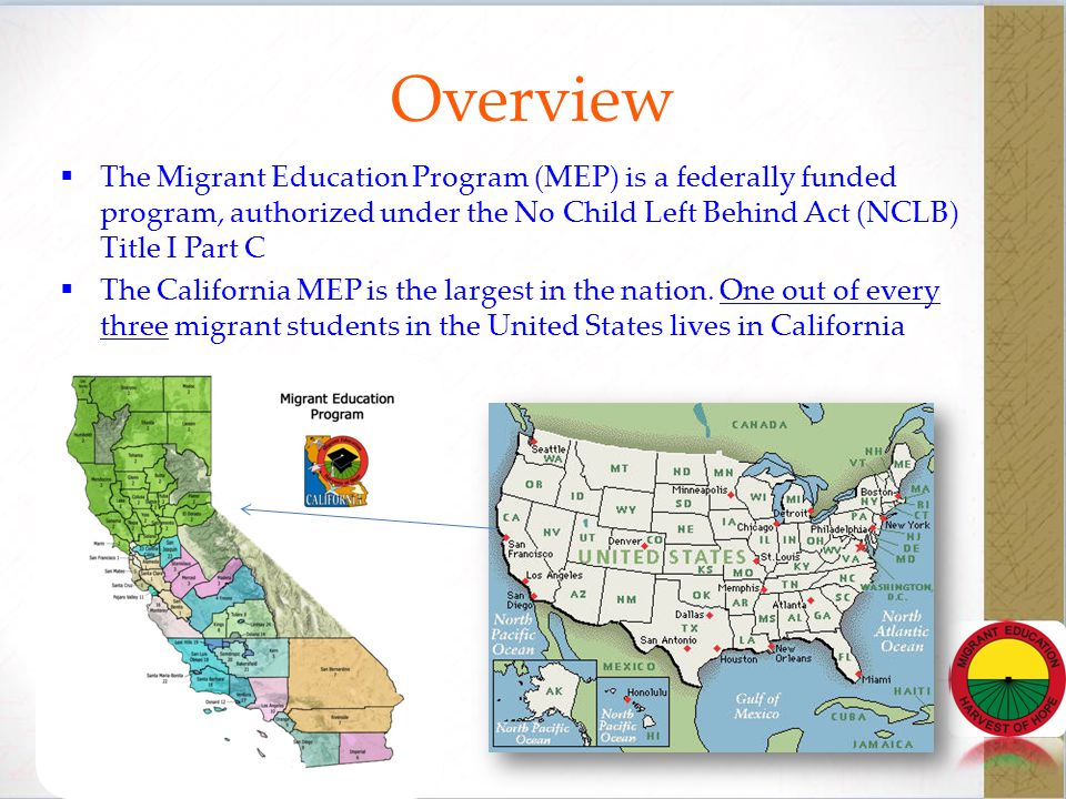 Purpose of the Migrant Program Ensure that migratory children receive full and appropriate opportunities to meet the same challenging state academic content and achievement standards that all children are expected to meet.