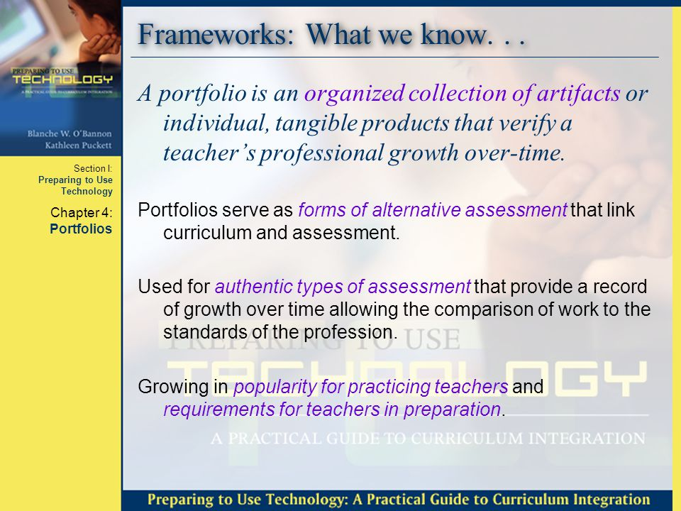Section I: Preparing to Use Technology Chapter 4: Portfolios Basics: Professional Push Three professional associations concerned with teacher quality at various stages of a teacher's professional life.