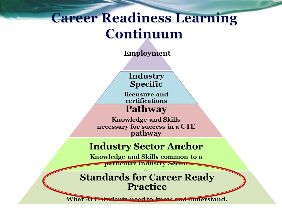 Adapted from the National Common Career Technical Core  Align with the Skills for the 21st Century  Describe the fundamental knowledge and skills needed to be ready for careers AND college  Not exclusive to a career pathway, CTE program of study, a particular discipline, or grade level 20 Standards for Career Ready Practice