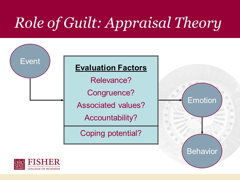 Role of Guilt: Applicant Appraisal Told to retest Evaluation Factors Personally relevant Incongruent Violates personal standards Personally accountable Coping potential.
