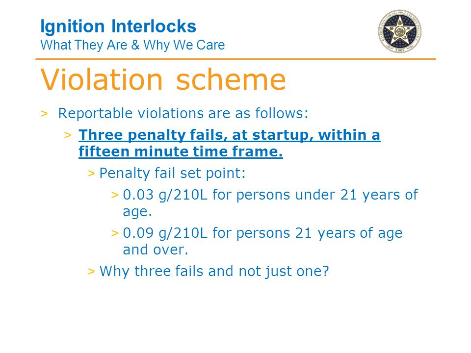 Ignition Interlocks What They Are & Why We Care Violation scheme