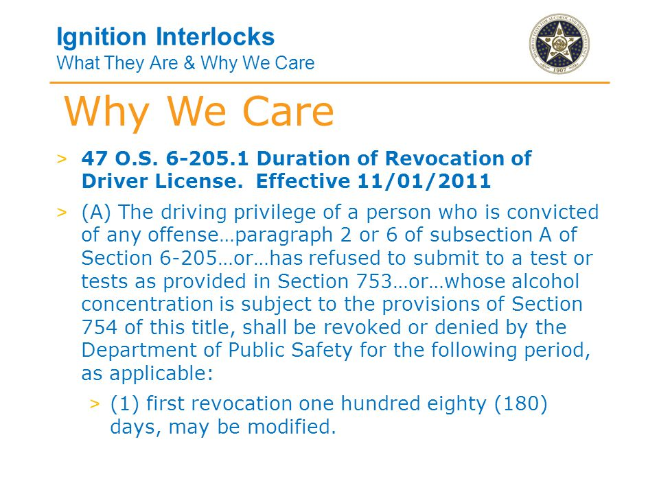 Ignition Interlocks What They Are & Why We Care > (2)(b) second revocation w/in 10 years for one (1) year, may be modified.