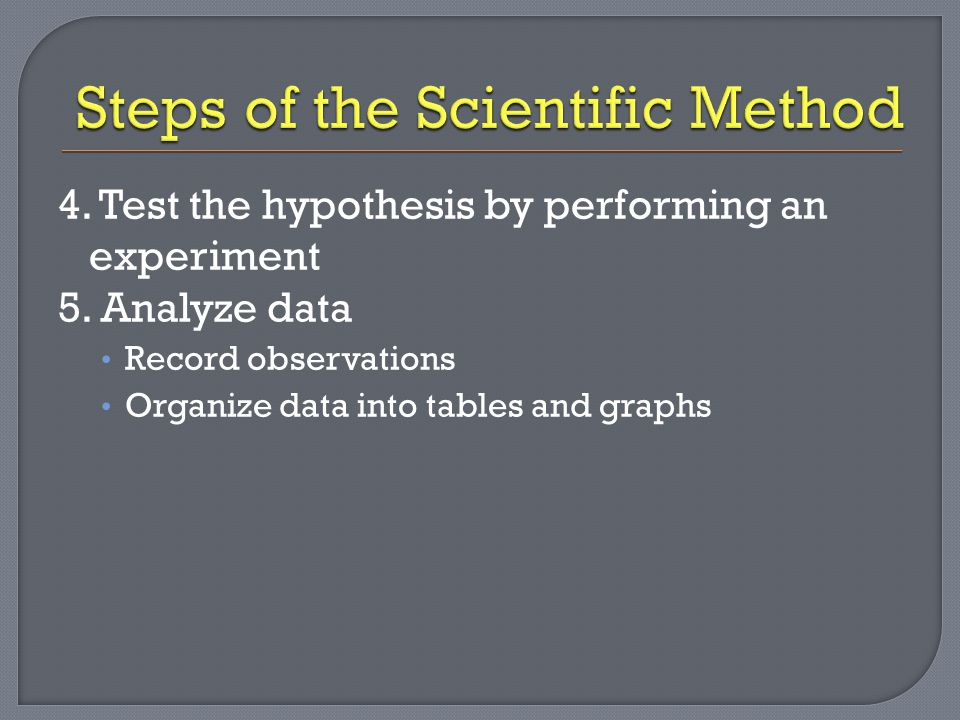 6.Draw conclusions If your data supports the hypothesis, your hypothesis was correct.