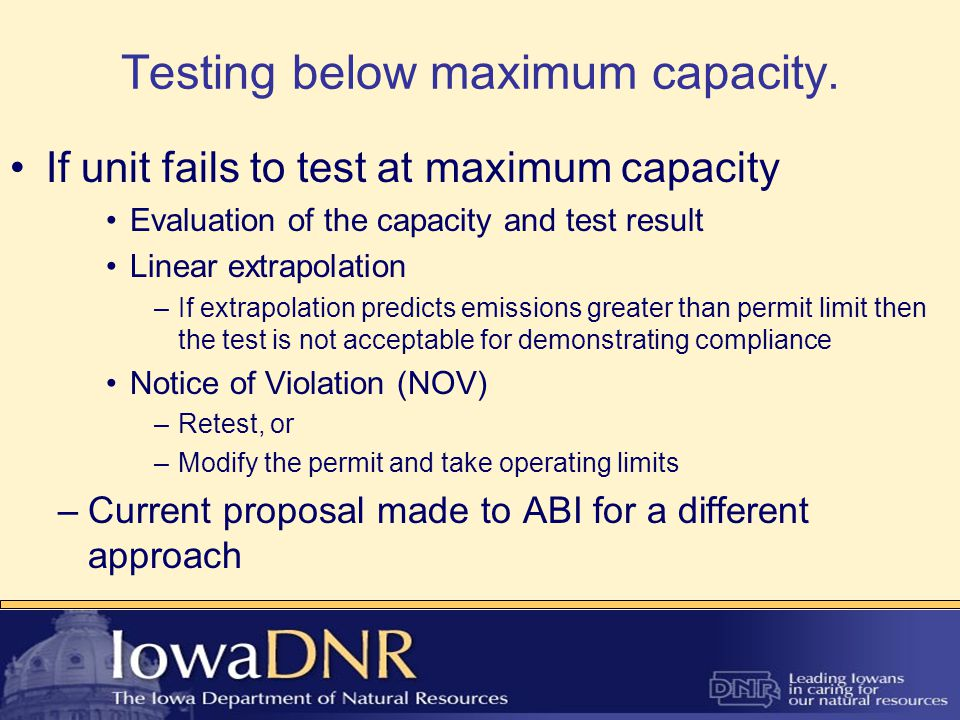 DNR/ABI Stack Testing Workgroup ABI requested workgroup to discuss stack testing issues such as: –Clarification on amended Methods 201A & 202 –Minimum particulate matter catches –Operating at maximum capacity during test