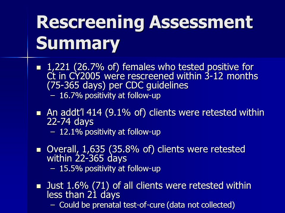 Rescreening Assessment Discussion What are project areas currently doing to assess rescreening practices.