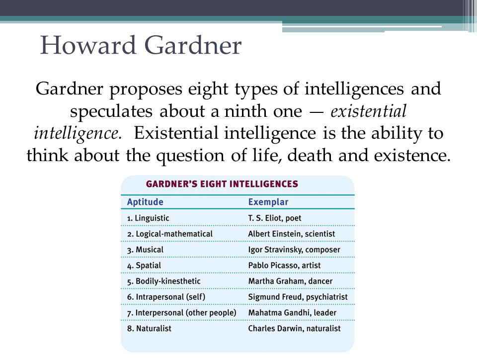 Raymond Cattell (1963) Said that general intelligence can be broken down into two relatively independent components called: Crystallized Intelligence Fluid Intelligence **Both types of intelligence are essential to adaptive living.